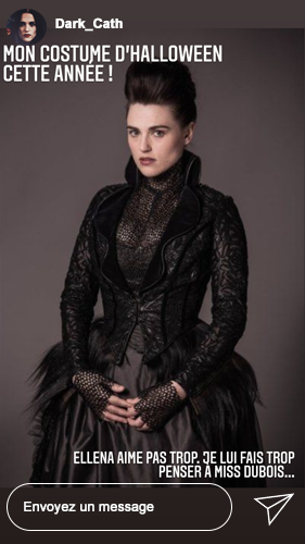 Mon costume d'Halloween cette année ! Ellena n'aime pas trop je lui fais penser à miss Dubois...